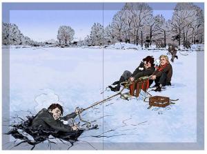 På isen, illustration af Andres Erstling