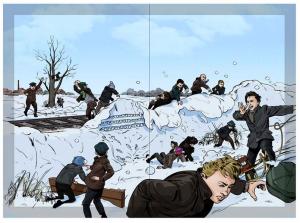 Sneboldskampen - illustration af Andreas Erstling
